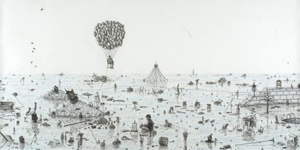 Frontier, dessin de l'artiste Joe Biel, 2008, (Graphite andColored Pencil on Paper,  59 x 119 in)